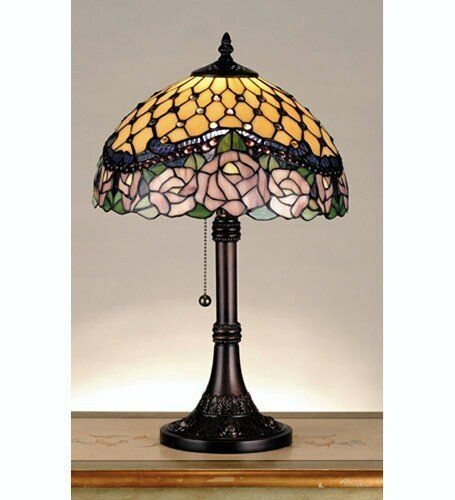 """Meyda 82304 19.5 Inch H Jeweled Rose Table Lamp Table Lamps. Total Height: 19.5"""". Total Width: 12"""". Shade: 7""""Height x 12""""Width. Bulb Type: Med. Max Watt: 60. Bulb Quantity: 1. Color: Beige Purple Bapa 59 Nawr. Material: Wood. Finish: Beige. Weight: 15lbs."""