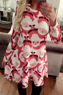 Father Christmas Print Long Sleeves Dress