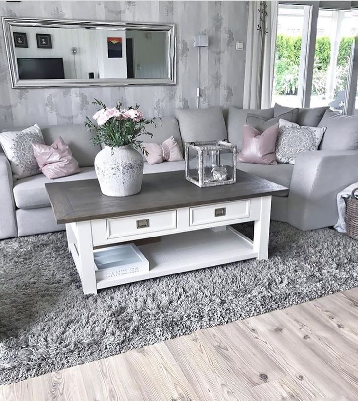 Pink and gray modern living room