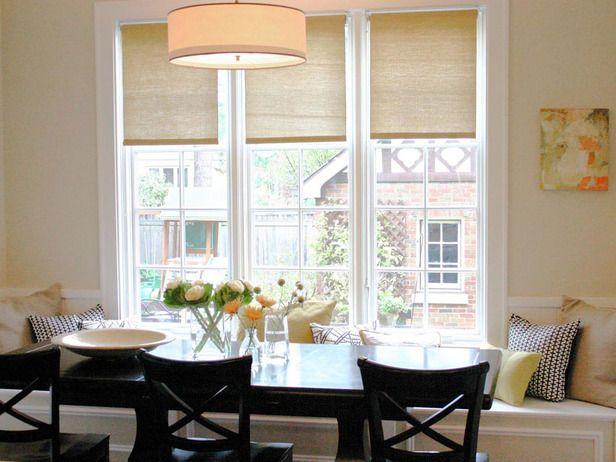.Dining Room, Kitchens Design, Kitchens Banquettes, Bench Seats, Contemporary Kitchens, Breakfast Nooks, Windows Seats, Kitchens Windows Treatments, Windows Shades