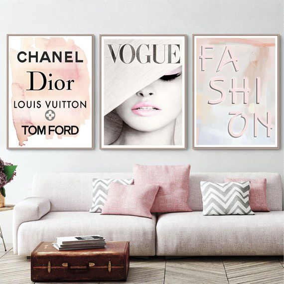 Fashion Wall Art Set Chanel Print Vogue Print Dior Poster Louis Vuitton Tom Ford Print Watercolor Fash Fashion Room Fashion Wall Art Room Wall Art