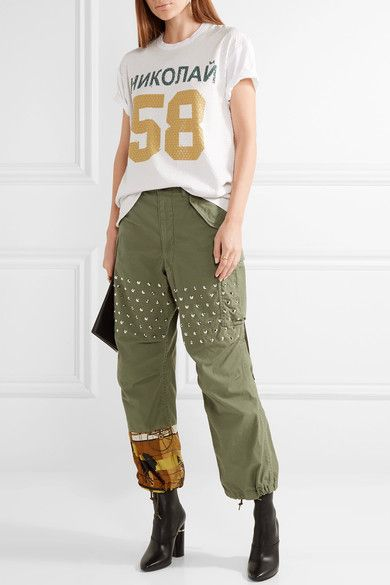 Junya Watanabe - Printed Satin-paneled Studded Cotton-blend Wide-leg Pants - Army green -