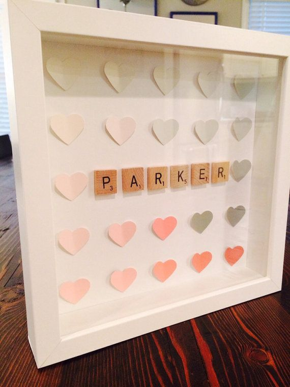Hearts & Letters custom shadow box for Baby / Home by LetterLuv, $32.00