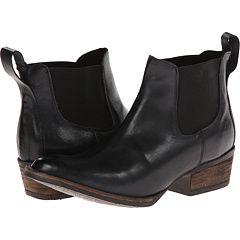 wood heel + black pull on booties
