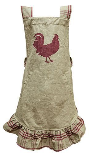Red Rooster Apron features a red rooster on the front, along with plaid accents on the trim. With …