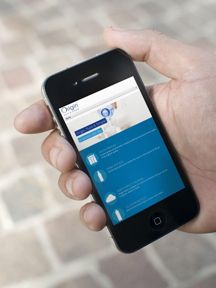 Origin Water website on a Iphone originwater.co.za