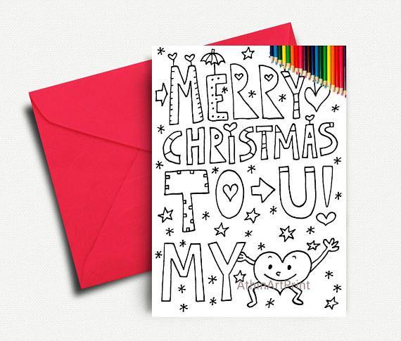 Printable Coloring Card Christmas Cards Xmas Printable