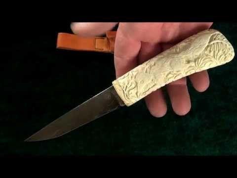 """Нож """"Лис"""". Дамаск, кость буйвола, кожа. """"Fox"""" knife. Damascus, buffalo bone, leather. #купить #авторский #нож #ручной #работы #ножи #изготовление #охотничьи #тактические #оружие #ножик #эксклюзив #ручнаяработа #подарокмужчине #резьба #резной #русский #knife #knives #customknives #handmade #knifecommunity #knifecollection #weapon #russian #art #blade #bone #hunting #carved"""