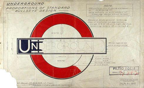 Original drawing for the London Underground logo, by Edward Johnston