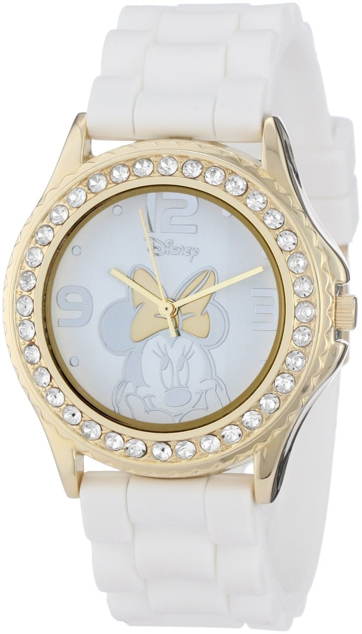 Disney Women's MN1053 Rhinestone Accent Minnie Mouse White Rubber Strap Watch, (watches, disney, mickey mouse watch, casual watch, disney watches and jewelry, bling, minnie mouse watch, pink, womens minnie, wrist watches)