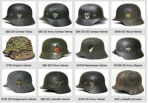 Many kinds of German helmets at the World War II. The picture includes many details.