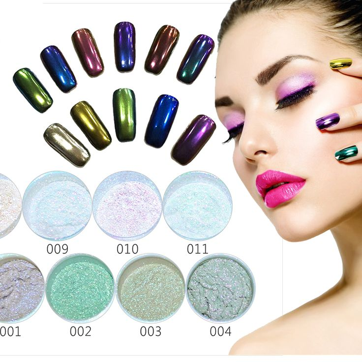 Nail Art Professional Metal Nail Polish Color Manicure Makeup Mirror Chrome Effect Pigment Powder With Brush Nail Gel