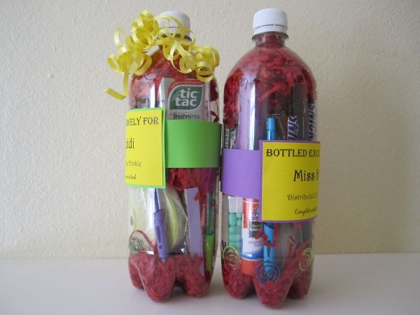"""""""Bottled"""" teacher gifts. Good for first day of school or could be themed for holidays, birthdays, 100th day of school,etc."""