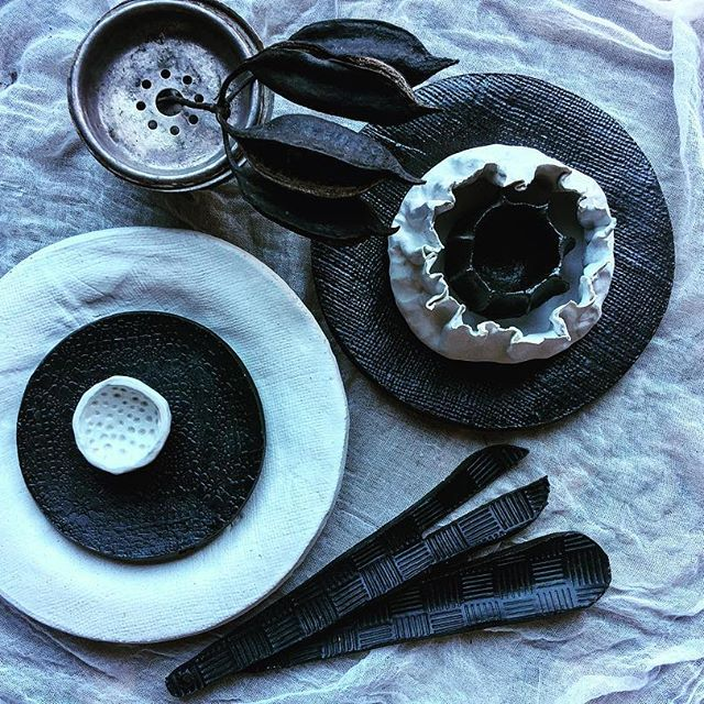 Black & White 🙃 #black#plates#stoneware#pottery#white#servers#handbuilt#madebyme#tableware#textured#decor#photography#interiors#ceramics#bespoke#GoldCoast #homewares#food-styling#instafood#food#foodporn#Australia#allfiredup