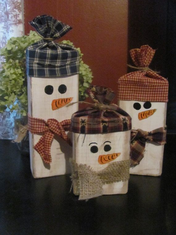 Set of 3 Primitive Wooden Snowmen by Ryasmommie on Etsy, $12.00