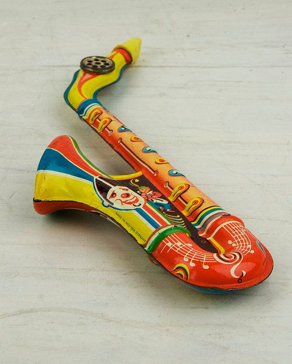 Vintage  Tin toy trumpet with lithographed by CrystalBlueVintage, $24.25