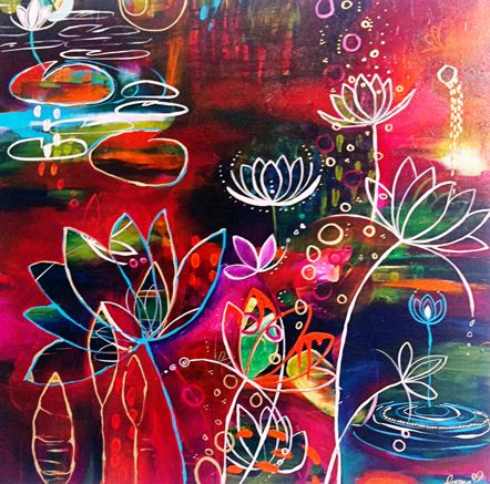 lotus. Draw image with glue or gluegun and let zion paint w watercolors.