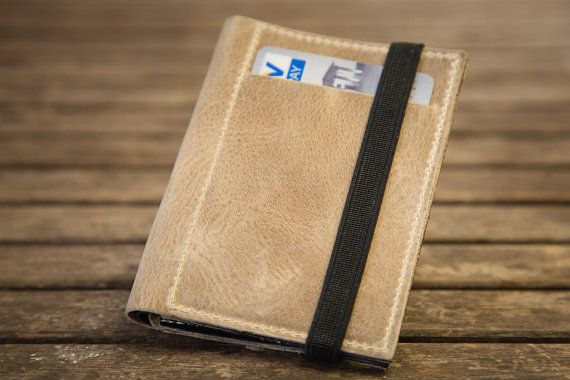 Leather Wallet minimal Wallet Leather Purse Women and men door Gazur