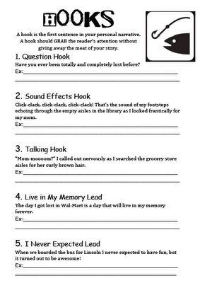 Hooks Reading Writing Lesson Or Worksheet