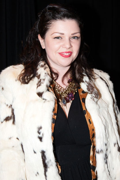 Vintage rabbit fur jacket | Shay Lowe necklace | Street Style Trend Report: big, bold necklaces at Toronto Fashion Week - Gallery | torontolife.com