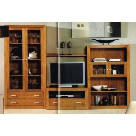 Conjunto para Salón con libreria compuesto por una vitrina de 2 puertas,modulo de TV y estanteria es elegante, sencillo pero a la vez moderno y muy robusto.
