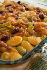 Hungry Hobo Beans Bake. Similar to mine but I use chili beans & navy beans instead of the butter & lima beans. Plus, I use a dollop of liquid smoke, a squeeze of mustard & several slices of cooked and crumbled bacon. And anything else you want to throw in :)  YUMMY! Especially great for a crowd!