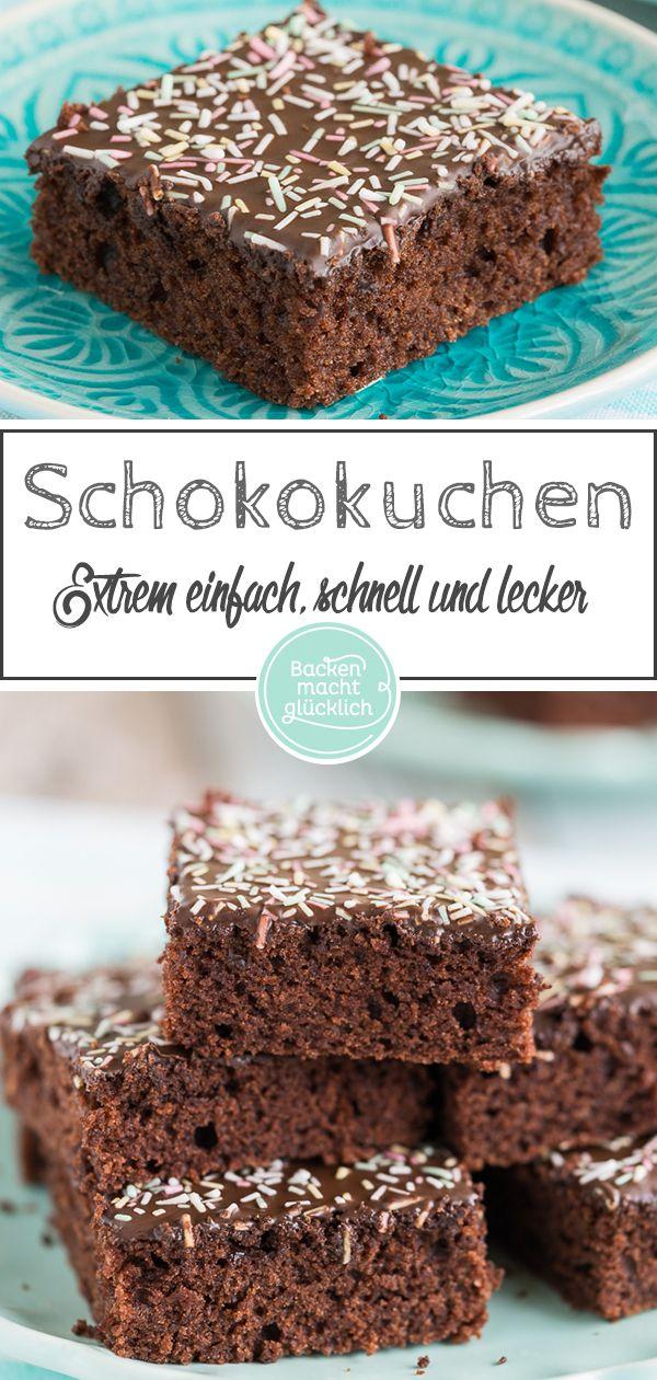 Saftiger Schoko Blechkuchen Rezept Backen Schokoladen Kuchen