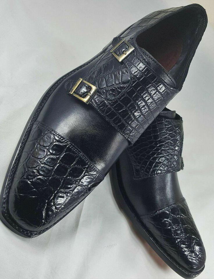Sapatilhas monge de couro de crocodilo preto para homem   – Monk Leather Shoes