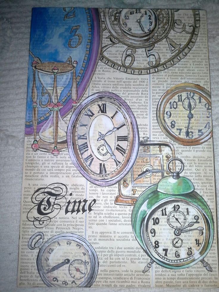 Dipinto con acrilici su vecchia carta di giornale.