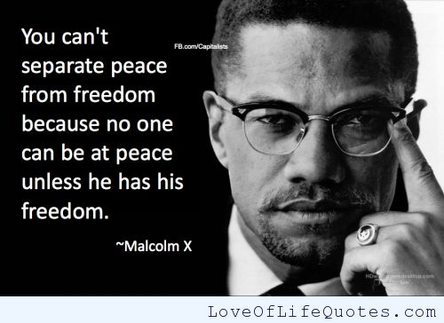 malcolm x quotes | Malcolm X quote on peace and freedom - Love of Life Quotes