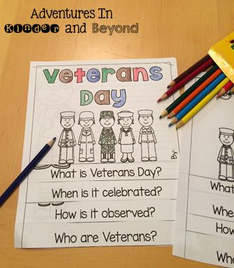 Celebrate Veterans Day and honor our courageous veterans! This mini-unit will help you teach your little ones all about our veterans.All the activities are great to use during social studies and literacy time. Use these quick and easy, print and go printable activities can be used in centers, small groups, morning work or early finishers when you teach about Veterans Day in November!