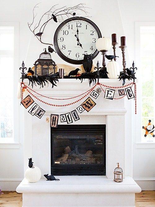 black & white Halloween mantle decor...use a black boa
