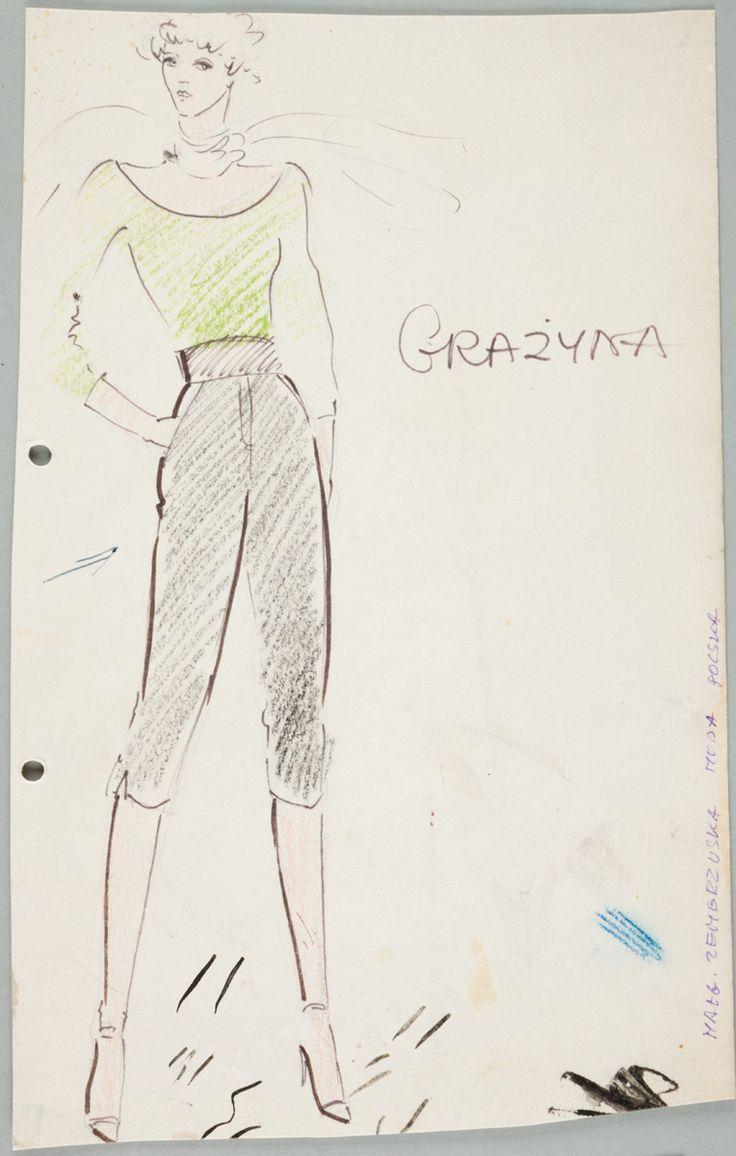 Małgorzata Zembrzuska, Projekt  ubioru na lato, ok. 1980, wł. MNK #PRL #Moda Polska #Polish Fashion #Małgorzata Zembrzuska
