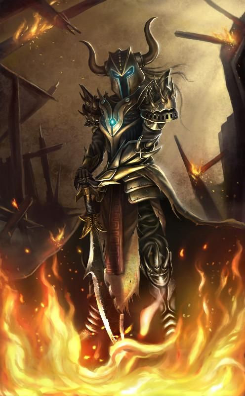 Horned Metal,Knight Like Armor In Flames. COOL As Hell!!! Bryan Marvin P. Sola