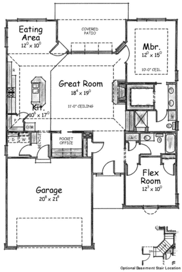 European Style House Plan – 2 Beds 2 Baths 1490 Sq…