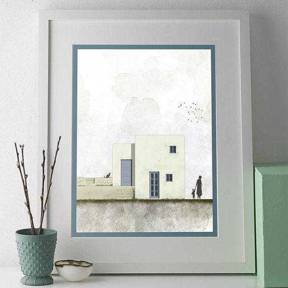 Greek art, greek islands, minimalist art print, print, Room Decor, Wall Decor, Office Decor, Cycladic Architecture,INSTANT DOWNLOAD   This listing