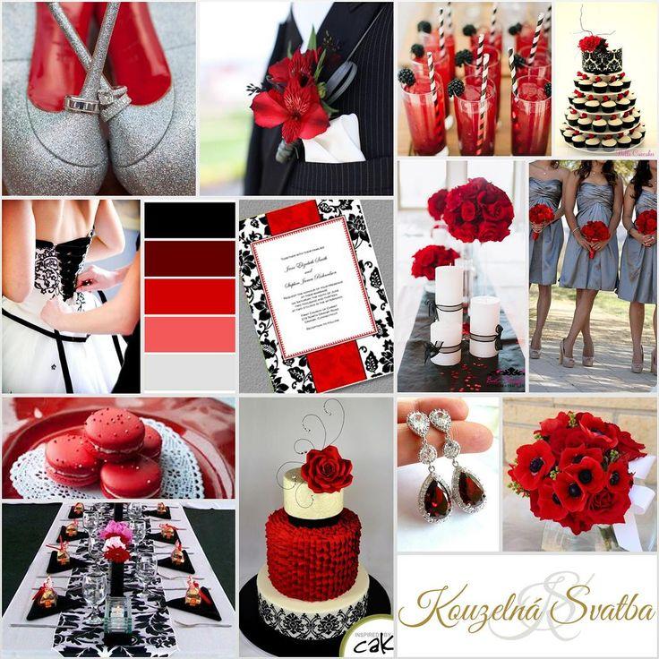 Červenočerná kombinace s ornamentálními prvky a doplňky ve stříbrné barvě.