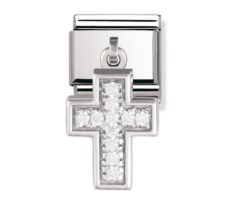 Nomination Stainless Steel, Silver and Cubic Zirconia Cross Charm 031711/13