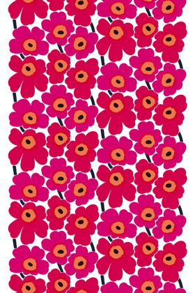 Marimekko unniko pattern. Poppies! I think a padded headboard in this fabric would be gorgeous for the kidlet's room.