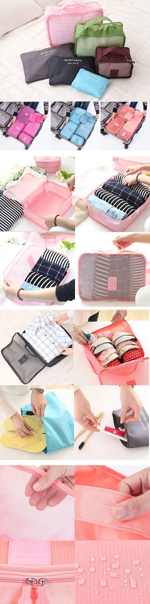 US$9.49  6Pcs Waterproof Travel Storage Bags Packing Cube Clothes Pouch Luggage Organizer