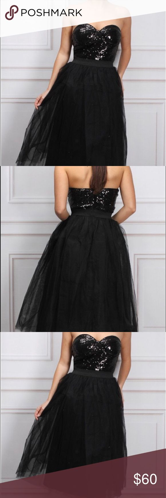 PROMBlack bustier dress sequin top tulle skirt Beautiful black sequin and tulle bustier dress NEW Zara Dresses Prom