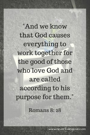 Romans 8: 28. Never failing Love. He always holds us.