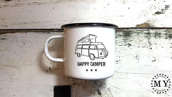 Camping Mug Enamel Mug Camp Mug Camper Mug Happy Camper Cup