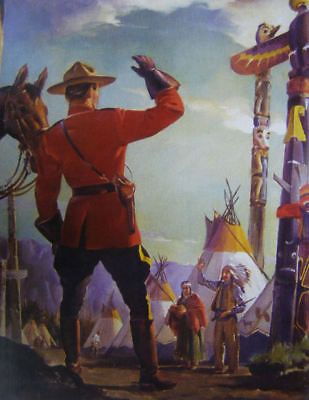 Canadian Mountie RCMP Waving at Indian village