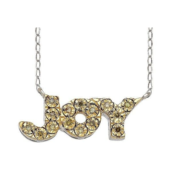 """Women's Sterling Silver Diamond Accent Joy\"""" Pendant ($85) ❤ liked on Polyvore featuring jewelry, pendants, silver, diamond accent pendant, sterling silver anklets, fine jewellery, anklet jewelry and sterling silver jewelry"""