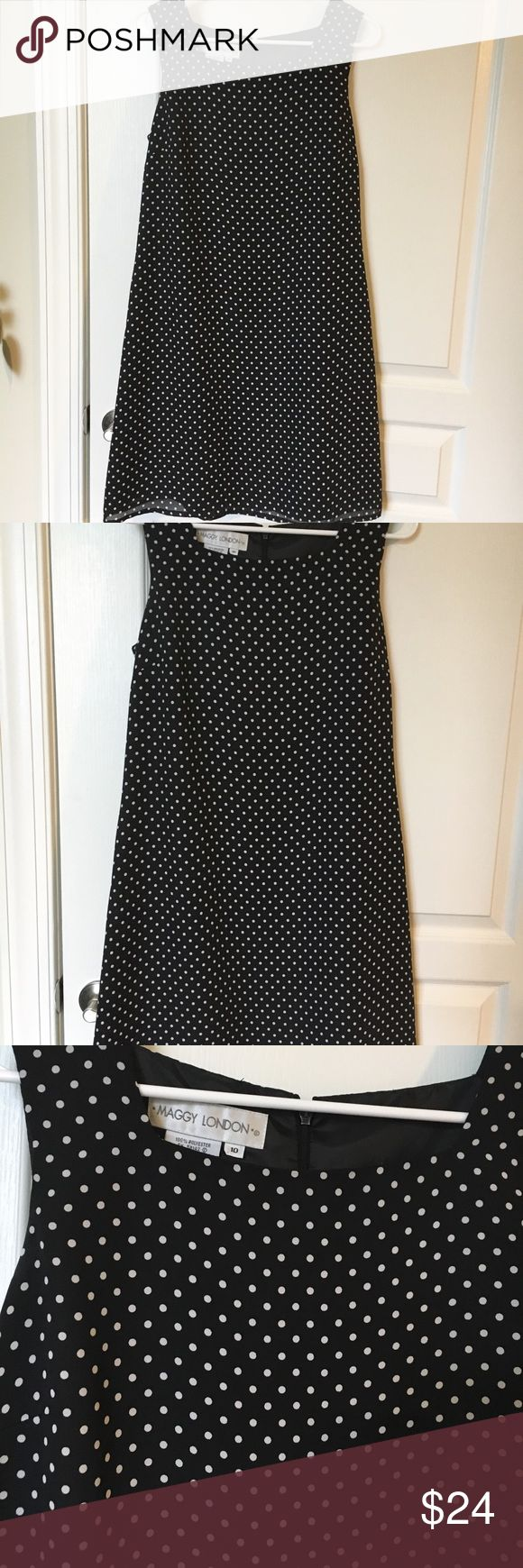 Maggy London black and white polka dot dress Pretty black/white polka dot dress. Can be business casual for work, to wear to a wedding, or just for the weekend! I️ offer discounts for bundles and welcome offers :) Maggy London Dresses