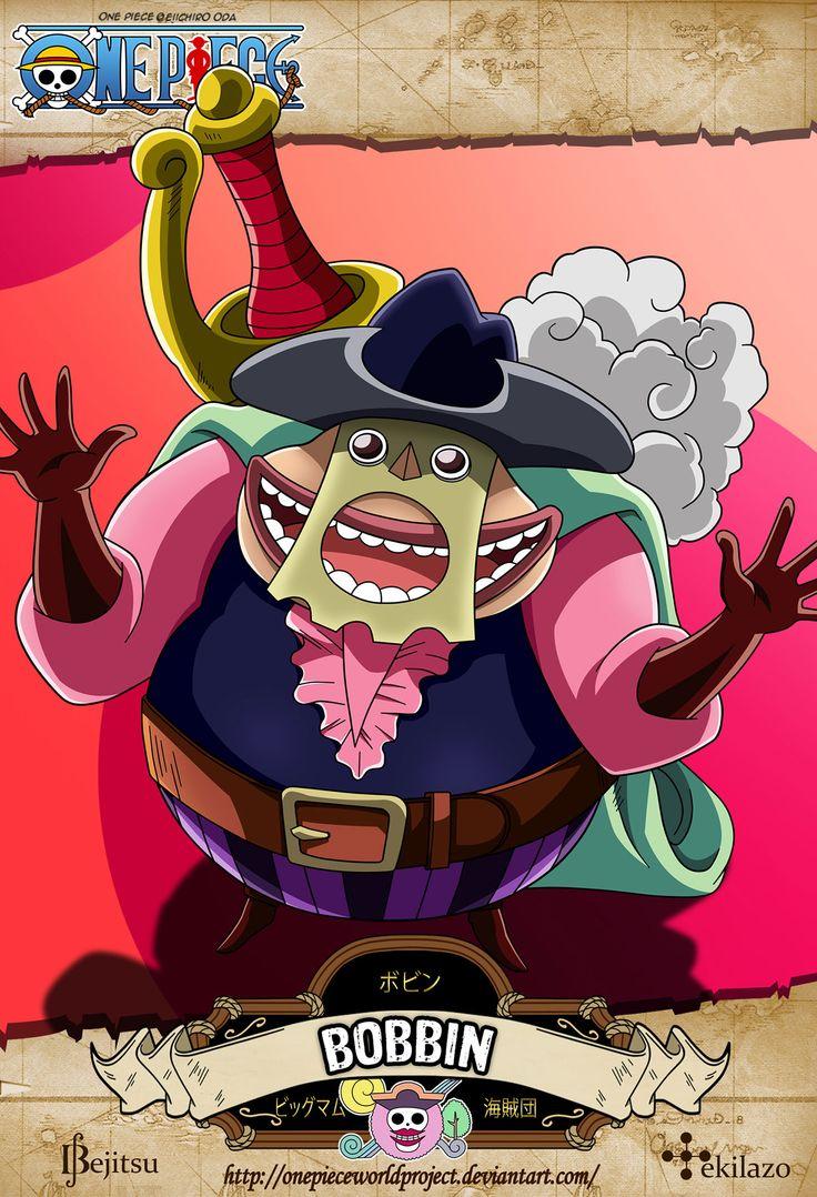 One Piece - Bobbin Ha sido visto por primera vez regresando de una isla que acababa de quemar por no poder haber pagado el tributo a Big Mom. Informa a Big Mom que las islas que no pueden pagar deben ser destruidas, y se ofrece a quemar la Isla Gyojin, que no había podido pagar su tributo mensual.