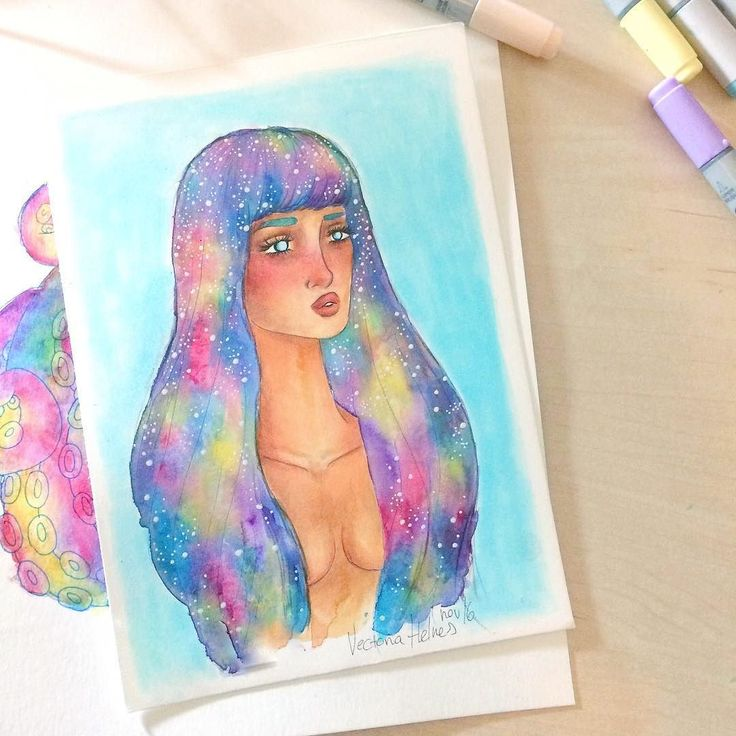 Lil mixed media lady with nebula hair  Trying to film some videos atm but I'm lacking inspiration?? What do you think would be a nice video?