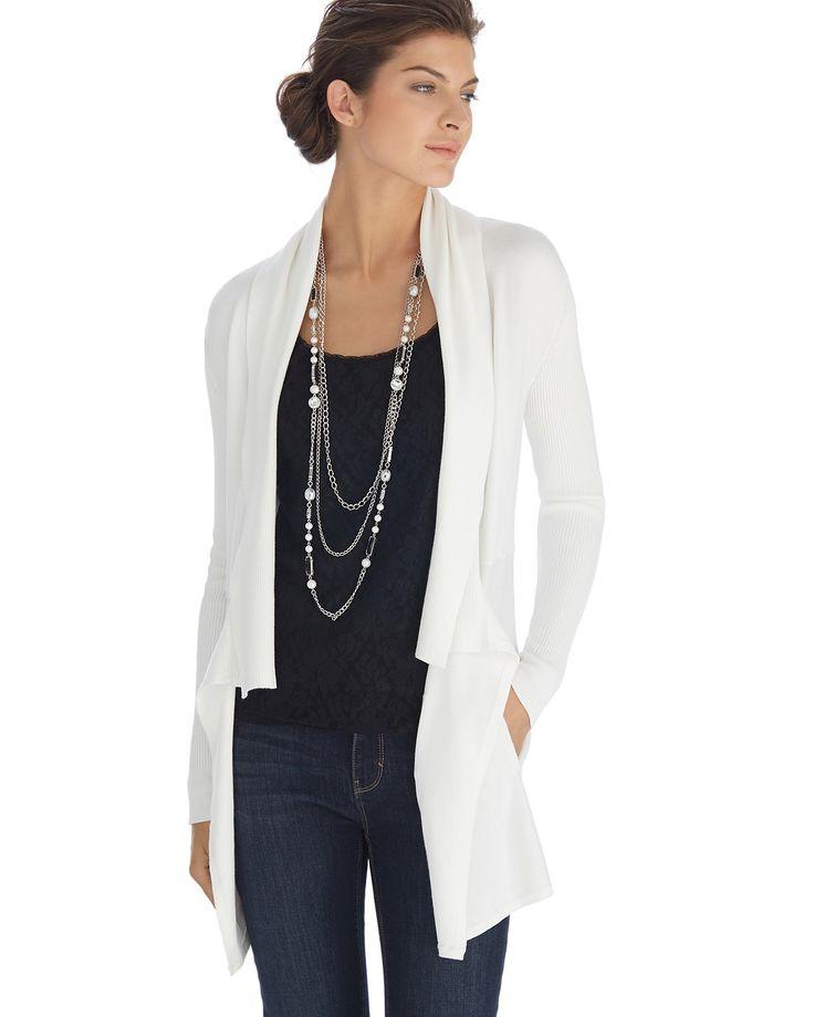 Ecru Long Sleeve Drapey Jersey Coverup