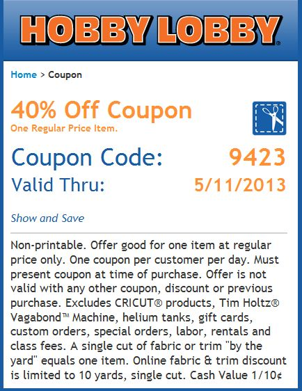 Pinned May 6th: 40% off a single item at Hobby Lobby, or online via promo code 2788 coupon via The Coupons App